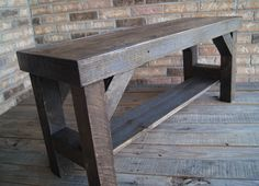 Sawn Lumber Bench. Dark Stained Oak Bench. Fully Reclaimed Timber