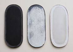 Nina Malterud | 3 stretched ovals, 18x45 cm. Earthenware and glazes.
