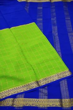 Details Mysore silk saree are world renowned saree. Karnataka, silk is mainly produced in the... Crepe Silk Sarees, Silk Crepe, Green Fabric, Silk Fabric, Mysore Silk Saree, Karnataka, Color Schemes, Pure Products, Design
