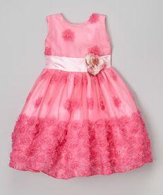 Look at this #zulilyfind! Magenta Rosette Dress - Toddler & Girls #zulilyfinds