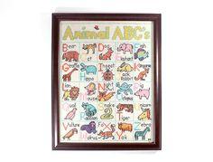1977 Animal ABC Framed Needlepoint by RuggyDesign on Etsy, $65.00