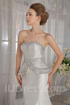 Popular Beading Crystals Sequins Strapless White Mermaid Wedding Dresses List Price: $1,025.00 Price: $229.99