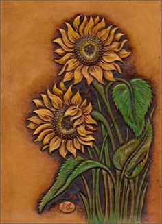 sunflowers -- carved leather