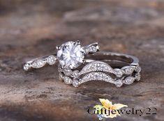 14K White Gold Round Cut Engagement Ring 1.38 Ct Diamond Wedding Band Bridal Set #giftjewelry22