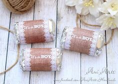 Rustic Baby Shower Favors It's a Boy Printable Mini Hershey Wrappers DIY Burlap and Lace Mini Chocolate Wrapper INSTANT Download PDF file
