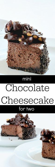 A small chocolate cheesecake for two. This dessert for two has chocolate covered peanuts on top of a rich, chocolate cheesecake with chocolate cookie crust! @dessertfortwo