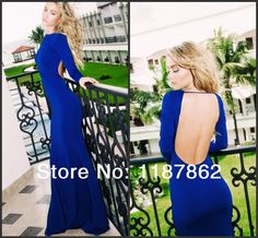 Find More Evening Dresses Information about ED 0160 Spring 2014 Vestidos De Fiesta Royal Blue Dress Long Sleeve Evening Dress Formal  Evening Dress with Open Back,High Quality Evening Dresses from White Snow on Aliexpress.com