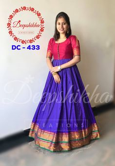 Long gown dress - Beautiful blue and red color combination floor lenght anarkali dres Code DC 433 For queries kindly WhatsApp 9059683293 Salwar Designs, Kurta Designs Women, Saree Blouse Designs, Kalamkari Dresses, Ikkat Dresses, Saree Gown, Lehnga Dress, Bandhani Dress, Designer Anarkali Dresses