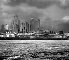 Ferries docked along the Detroit waterfront in Detroit News Photo Store) Flint Michigan, State Of Michigan, Detroit Michigan, Detroit History, Detroit News, Metro Detroit, Detroit Rock City, Detroit Motors, Mackinac Island