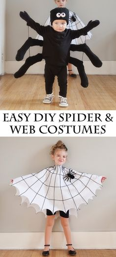 30 easy diy halloween costumes for kids boys and girls! diy spider and web costume cute for siblings! super easy and cheap diy lego costume such a cute idea! 30 easy halloween costume ideas for kids and teens Spider Halloween Costume, Kids Costumes Boys, Diy Halloween Costumes For Kids, Toddler Costumes, Toddler Spider Costume, Halloween Makeup, Spider Girl Costume, Halloween Costumes Kids Homemade, Baby Costumes For Boys
