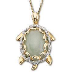 Jade Turtle Pendant Necklace 14K/Sterling Silver ($125) ❤ liked on Polyvore featuring jewelry, necklaces, no color, sterling silver turtle necklace, jade jewelry, fine jewelry, jade necklace and box chain necklace