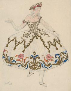 Costume design by Leon Bakst for La belle au bois dormant, 1921