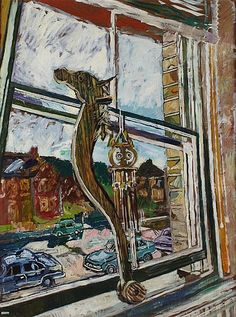 JOHN BRATBY R.A (BRITISH, 1928-1992). HOLLY'S HOBBY HORSE, 122cm x 91cm (48in x 36in).