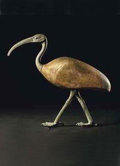 Egyptian bronze and gilt wood Ibis ~ 664-30 B.C.