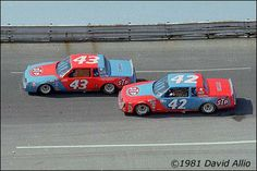 Richard Petty and Kyle Petty battle for position at Bristol...1981