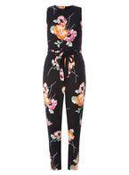 Womens Floral Print Jumpsuit- Pink