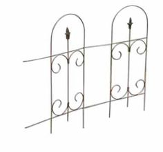 Panacea Products Folding Fence With Finial, Black by Panacea Products. $12.57. Easy installation; measures 32.5-inches in height. Black color. Made of steel. Folding fence with finial. Powder Coated Finish. This border edge features some delicate scrollwork in the middle section and a finial under every arch. Each arched section has two horizontal arms which support the unit. A hook at the end of each arm connects to another fence section.  Easy installation.  32.5 Inches  high.