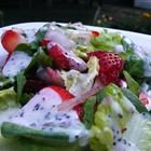 Strawberry Summer Salad - this picture does NOT do it justice! This is my fav summer salad, it's quick, easy and oh so yummy. The combination of red onion and strawberries with the poppy seed dressing is de-lish  =)