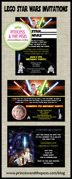 lego star wars invitations | lego star wars photo invitations | lego star wars party | lego star wars party ideas  http://www.princessandthepeas.com/blog  #legostarwarsparty #legostarwarsinvitations #legostarwarsbirthday