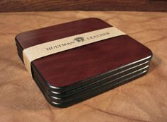 Set of Four Handmade Brown Leather Coasters and Dark Brown Leather Holder Leather Coasters, Leather Workshop, Personalized Coasters, Odd Stuff, Leather Crafts, Leather Wallets, Leather Pieces, Small Leather Goods, Office Organization