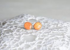 Orange earrings inspired by desert natural wooden by MyPieceOfWood, $16.00