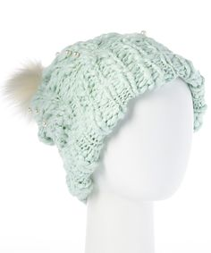 Love this Betsey Johnson Aqua Pearly Girl Pom-Pom Beanie by Betsey Johnson on #zulily! #zulilyfinds