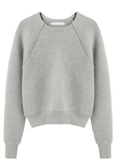 Shop items similar to Alexander Wang Crop Neoprene Pullover La Garconne on Nuji Long Sleeve Crop Top, Long Sleeve Shirts, Neoprene Fashion, Normcore Fashion, Pullover, Crewneck Sweater, Grey Sweatshirt, Seinfeld, Grey Shirt
