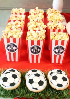 Popcorn and cookies at a soccer birthday party! See more party planning ideas at CatchMyParty.com!
