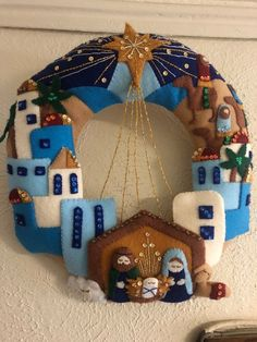 Looking for a Christmas decoration to be proud of and hang up year after year? Bucilla has some of the best designs, I believe. Nativity Ornaments, Nativity Crafts, Felt Christmas Ornaments, Christmas Nativity, Christmas Art, Christmas Projects, Christmas Decorations, Natal Design, Xmas Wreaths