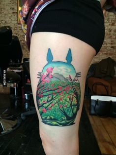 The ONLY tattoo I've found of chihiro from spirited away ... Totoro Thigh Tattoo