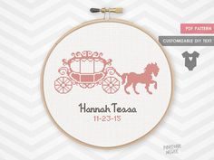 CARRIAGE BIRTH ANNOUNCEMENT counted cross stitch pattern easy nursery baby sampler record shower gift new baby girl needlecraft embroidery by PineconeMcGee