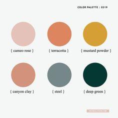 Color Inspiration : Cameo Rose + Mustard + Terracotta + Steel +Deep Green – Idea Wallpapers , iPhone – do pallet Colour Pallette, Colour Schemes, Color Patterns, Color Combos, Pastel Colour Palette, House Color Schemes, Pink Color, Gray Color, Room Colors