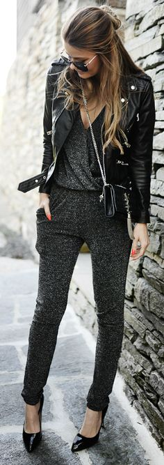 Cute Spring Outfit: A great grey and black combo Via Annette Haga Jumpsuit: Second Female, Jacket: The Kooples, Bag: YSL, Shoes: Aldo, Sunglasses: ZeroUV