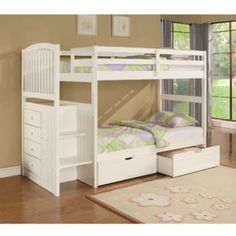 Angelica White Twin/Twin Bunk Bed with Stairs and Underbed Storage at GoWFB.ca | Powell Company