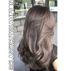 """""""And here it is! A beautiful smokey dark ash blonde with a hint of grey for Stephanie! love making up new color concoctions and discovering a winner like…"""":"""