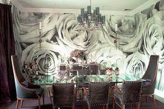dramatic wallpaper, dining room