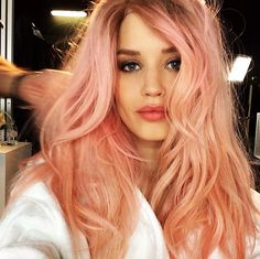 Georgia May Jagger with dreamy pink hair