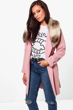 boohoo Eliza Faux Fur Collar Wool Look Coat | #Chic Only #Glamour Always