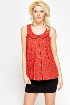 Collar Pleated Red Printed Top