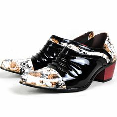 Mens Black White Skull Floral High Heel Hipster Fashion Dress Shoes SKU-1100534