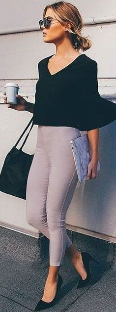 #fall #executive #peonies #outfits |  Black Top + Light Grey Tights