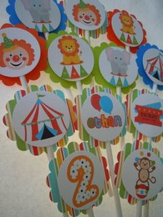 Circus Clown Cupcake Toppers Circus Birthday Party Clowns Monkeys. $10.50, via Etsy.