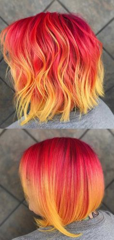 Pink Lemonade Hair Color Fire rainbow hair color bob hairstyle - Unique World Of Hairs Hair Colorful, Bright Hair Colors, Red Hair Color, Cool Hair Color, Color Red, Bright Colored Hair, Bob Hairstyles 2018, Pretty Hairstyles, Bob Haircuts