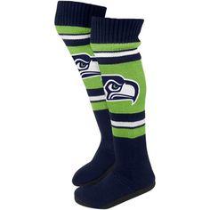 Seattle Seahawks Ladies Knit Knee Slipper Socks - Neon Green/Navy Blue