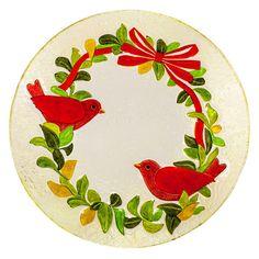 Evergreen Enterprises Festive Foliage 18 in. Glass Bird Bath - 2GB593