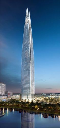 Lotte World Tower in Seoul, South Korea, 556 m (under construction).