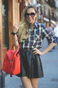 studded plaid shirt with leather skirt