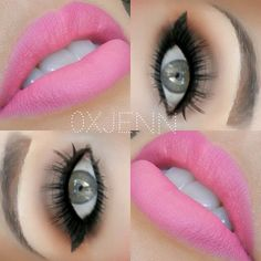 Brown eyes, pink lips
