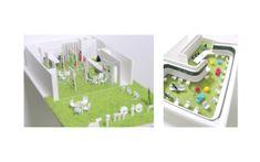 東京目黒区にあるオフィスとギャラリーのリノベーション 公園のようなインテリアデザイン 模型