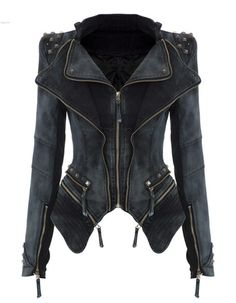 Item Type: Outerwear & Coats Outerwear Type: Jackets Gender: Women Clothing Length: Short Sleeve Style: Regular Pattern Type: Solid Style: Novelty Closure Type: Zipper Type: Asymmetric Length Hooded: